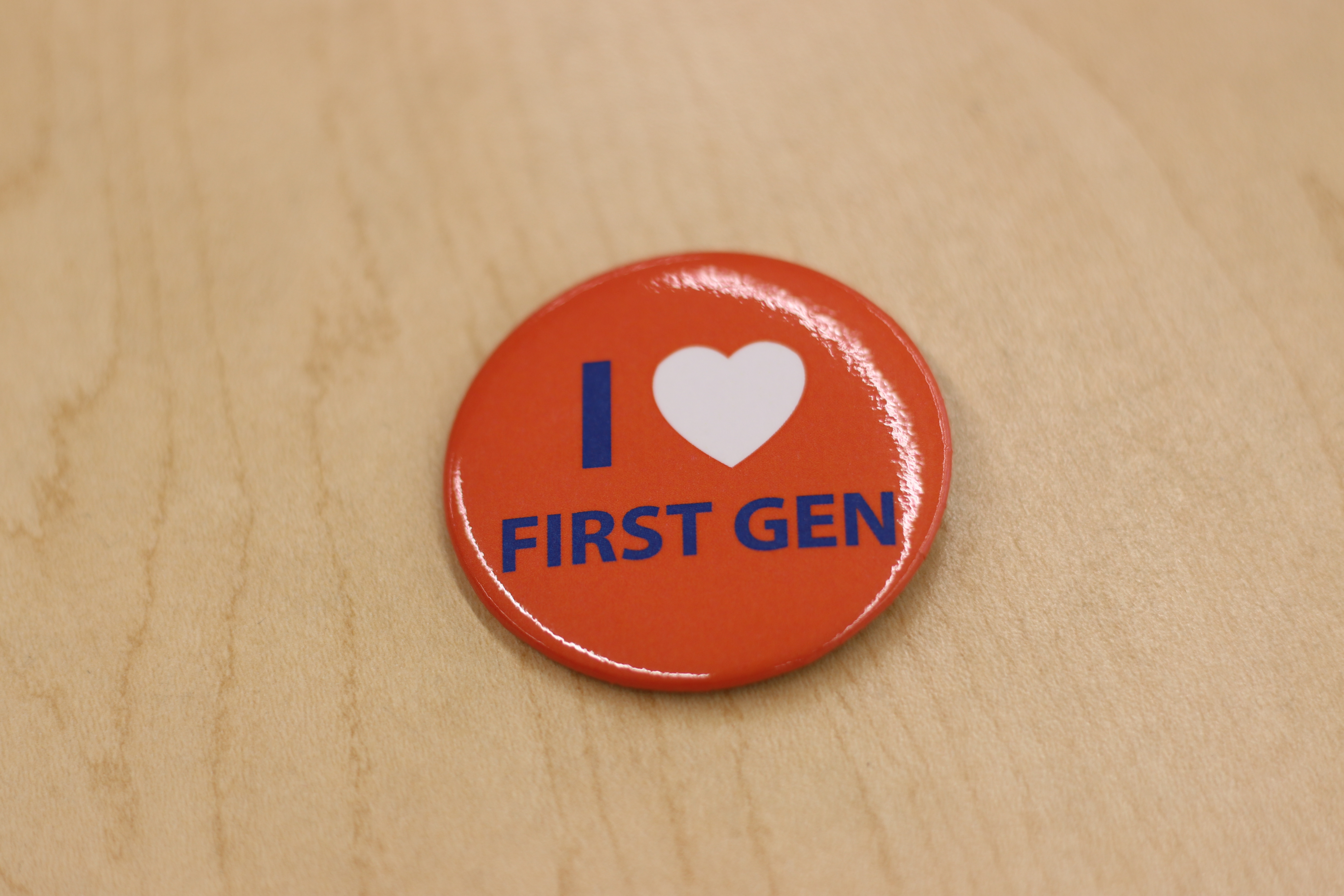 Button with words I heart first-gen