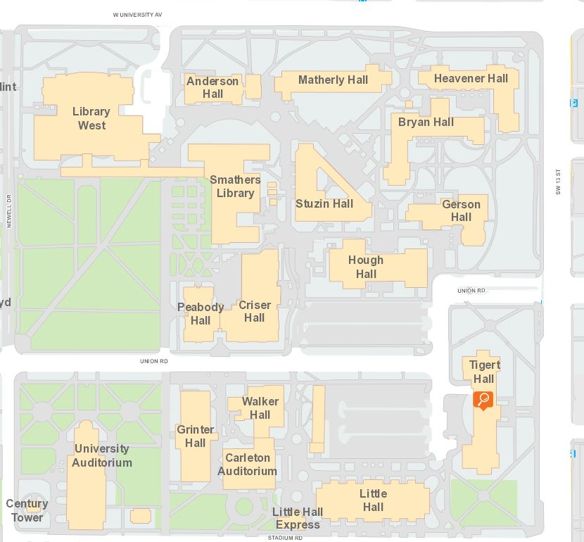 Map of Tigert Hall location on UF Campus